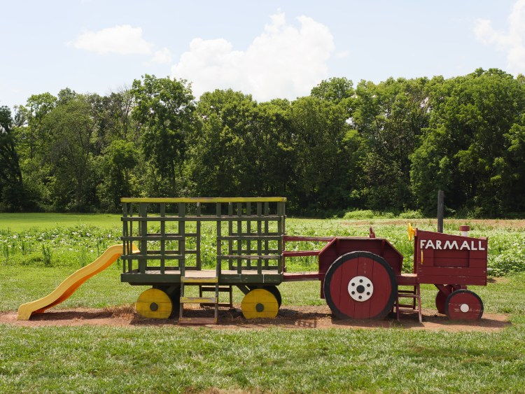 Pretend tractor at Rocky Point Creamery in Frederick County, Maryland