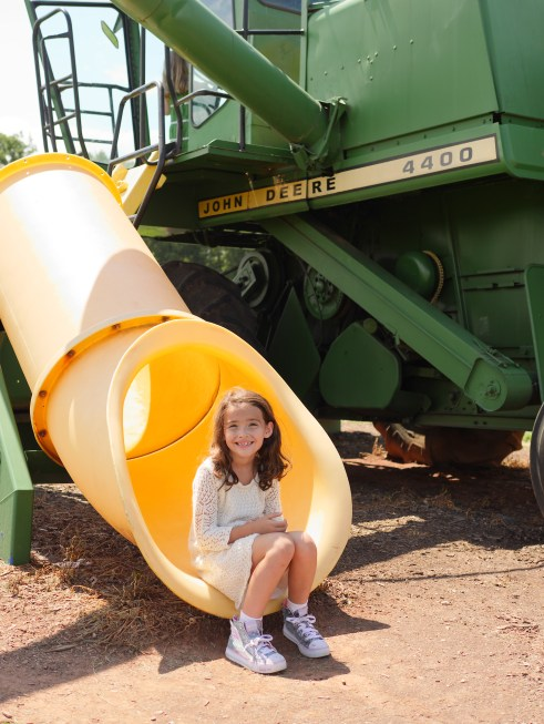 Child enjoying the slides at the tractor-inspired playground at Rocky Point Creamery in Frederick County, Maryland