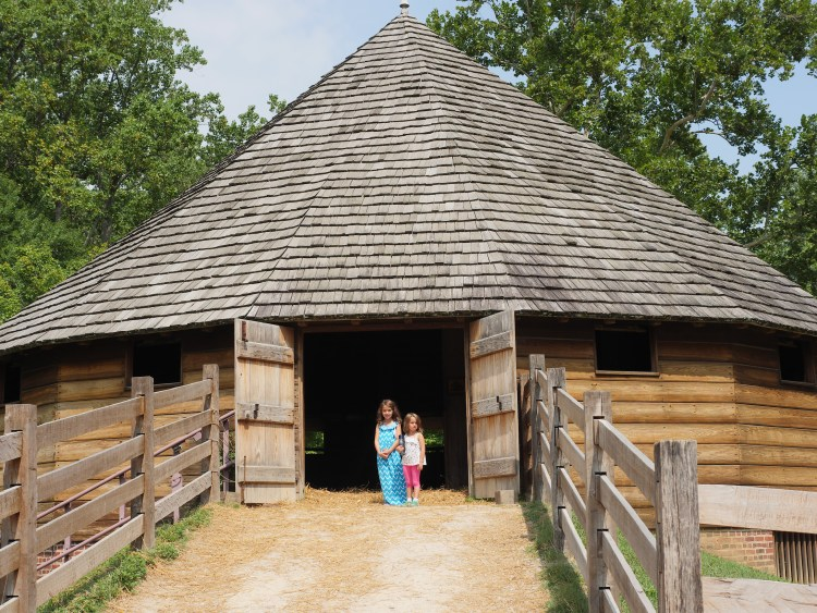 Inside the 16-sided barn, George Washington's horses walked over stalks of wheat to remove the grain.