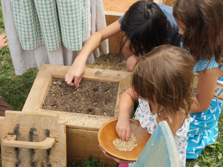 Children can take part in activities at Pioneer Farm.
