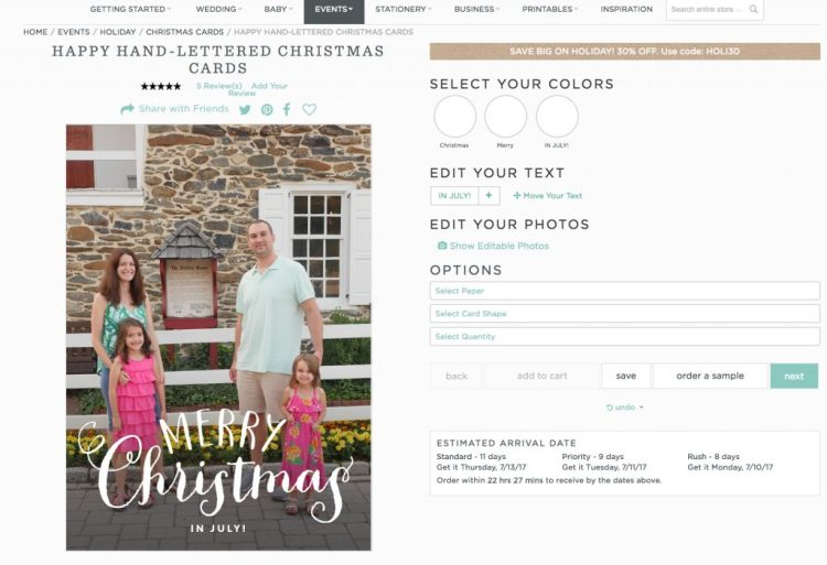 The Basic Invite website is easy to navigate. Invitations can be customized with different colors and paper. - Theresa's Reviews