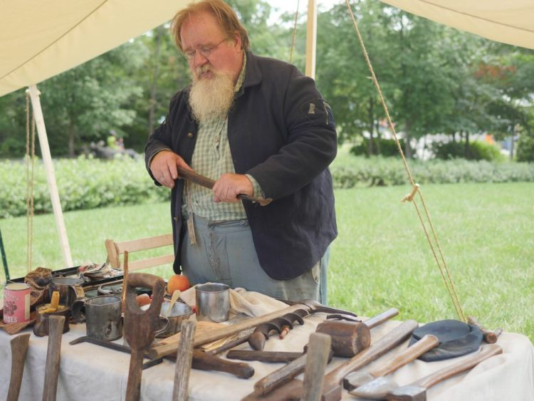 At Ford Family Day, the Hands On History Cart showed artifacts and memorabilia from the Civil War.