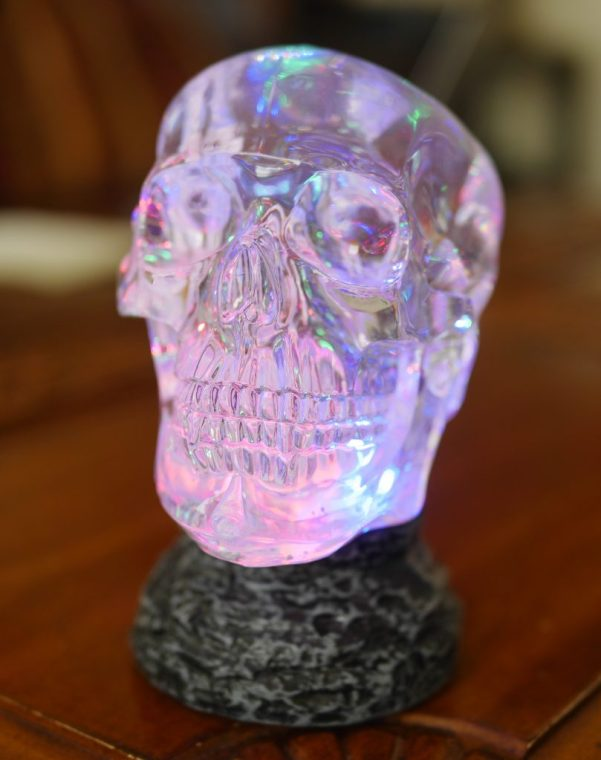 Visit your local Cracker Barrel to spot unique Halloween decor finds, such as this light-up decorative skull piece. Theresa's Reviews 2017 Halloween Decor