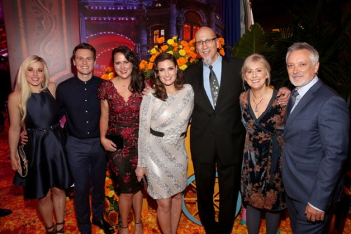 """:HOLLYWOOD, CA - NOVEMBER 08: (L-R) Songwriter Elyssa Samsel, Actor Jonathan Groff, Songwriter Kate Anderson, Actor Idina Menzel, Producer Roy Conli, and Directors Stevie Wermers-Skelton and Kevin Deters of """"Olaf's Frozen Adventure"""" at the U.S. Premiere of Disney-Pixar's """"Coco"""" at the El Capitan Theatre on November 8, 2017, in Hollywood, California. """"Olaf's Frozen Adventure"""" featurette opens in front of Disney-Pixar's original feature """"Coco"""" for a limited time. (Photo by Jesse Grant/Getty Images for Disney)"""