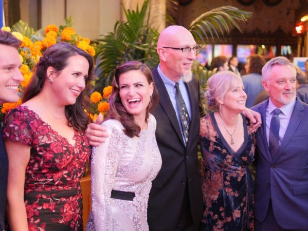 """Actor Jonathan Groff, Songwriter Kate Anderson, Actor Idina Menzel, Producer Roy Conli, and Directors Stevie Wermers-Skelton and Kevin Deters of """"Olaf's Frozen Adventure"""" at the U.S. Premiere of Disney-Pixar's """"Coco"""" at the El Capitan Theatre on November 8, 2017, in Hollywood, California."""