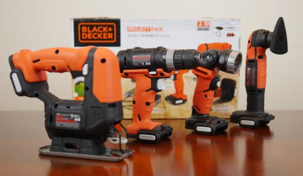 Theresa's Reviews 2017 Christmas Gift Guide For Men - The Black and Decker GoPak 4-Tool Combo Kit has a drill/driver, jig saw, sander, and LED flashlight.