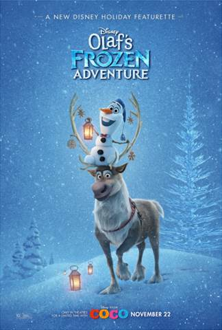 Starting on November 22, 2017, you can see Olaf's Frozen Adventures playing for a limited time exclusively in theaters with Disney Pixar's Coco.