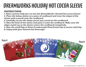 Theresa's Reviews - Download four different hot cocoa sleeves in this bundle of free DreamWorks holiday printables!