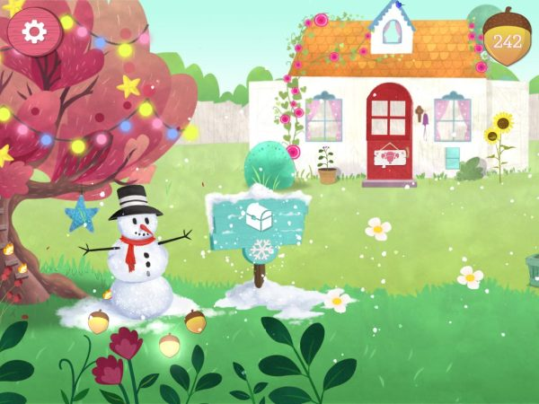 Theresa's Reviews - You can tell that the new Garden Fun app update worked if you see a snowman in front of the main cottage. #AmericanGirl #welliewisher