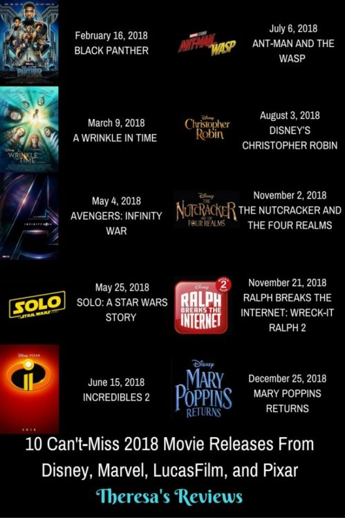 Theresa's Reviews: 10 Can't-Miss 2018 Movie Releases From Disney, Marvel, LucasFilm, and Pixar #BlackPanther #WrinkleInTime #InfinityWar #Incredibles2 #AntManAndTheWasp #MaryPoppinsReturns