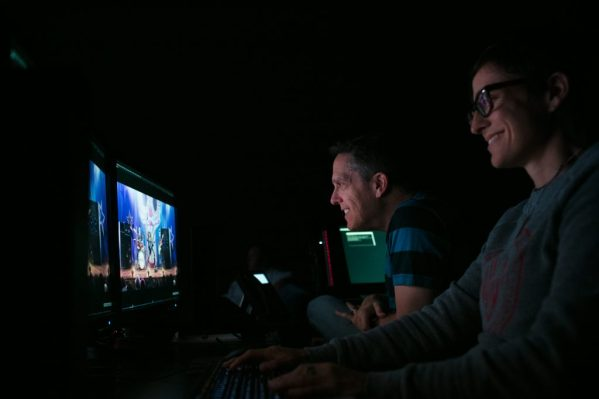 """Director of Photography Lighting Danielle Feinberg and Director Lee Unkrich during a """"Coco"""" lighting review on July 26, 2017 at Pixar Animation Studios in Emeryville, Calif. (Photo by Deborah Coleman / Pixar)"""