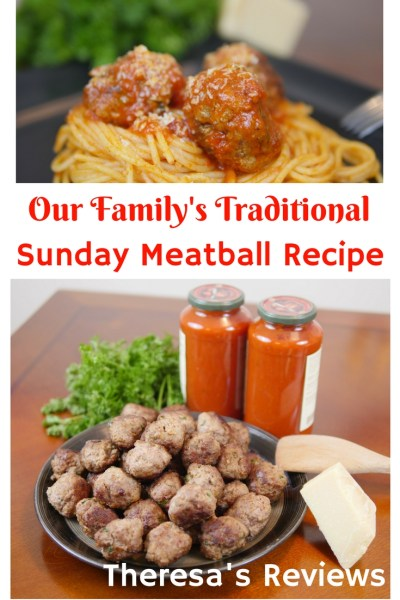 Theresa's Reviews - Our Family's Traditional Sunday Meatball Recipe - This recipe uses fresh parsley, freshly grated parmesan cheese, and naturally delicious sauce with tomatoes imported from Italy as the main ingredient.