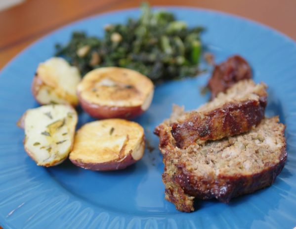 Theresa's Reviews - Sun Basket's BBQ meatloaf with garlicky greens and rosemary-roasted potatoes is dairy-free and family friendly.