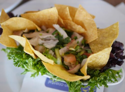 Cerviche with lime marinated fish, red onion, cucumber, tomato, cilantro, and serrano at Hudson Coastal Raw Bar & Grille - Theresa's Reviews