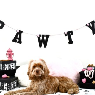 Pink Dog Birthday Party Banner