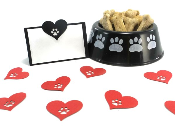 Hearts and Paw Print Dog Party Place Cards, The Misfit Manor Shop