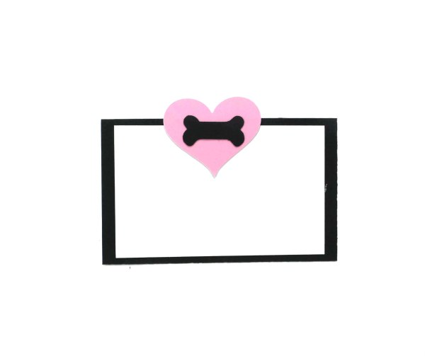Pink Heart Dog Party Place Cards, The Misfit Manor Shop