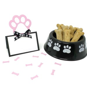 Pink Paw Print Party Place Cards, Misfit Manor Shop