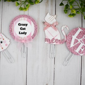 Pink Cat Planner Clips, The Misfit Manor Shop