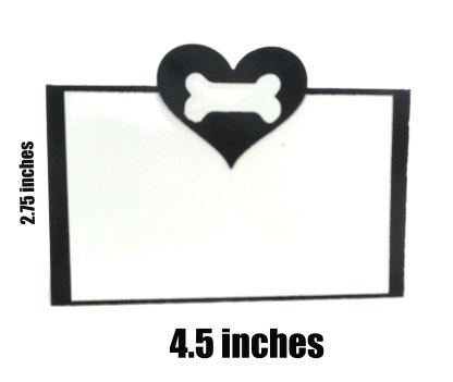 Hearts and Bone Black and White Dog Party Place Cards, The Misfit Manor Shop