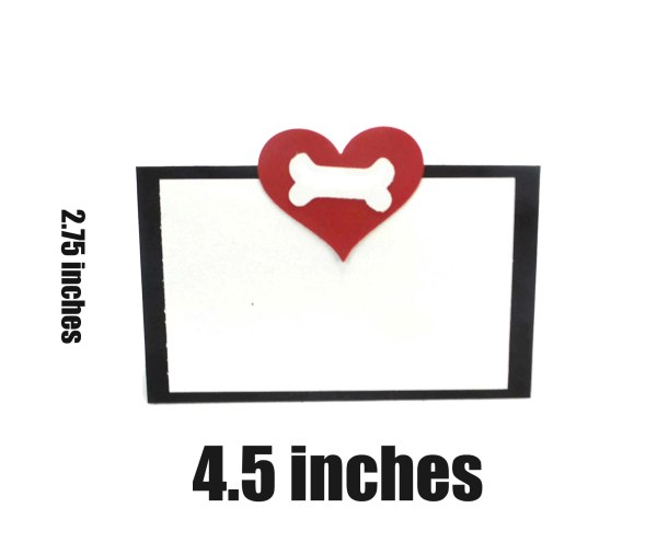 Heart and Bone Dog Party Place Cards, The Misfit Manor Shopce Cards