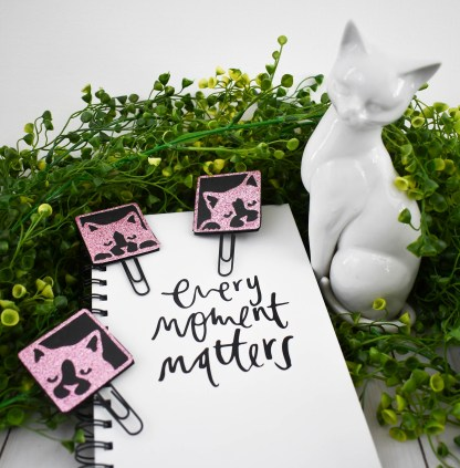 Sparkly Cat Planner Clips - The Misfit Manor Shop