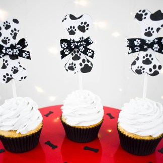 Paw Print Dog Bone Cup Cake Toppers - Misfit Manor Shop