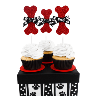 Red Sparkly Dog Bone Cup Cake Toppers