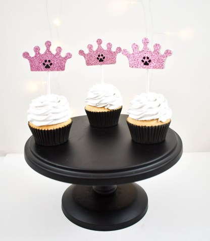 Pink Crown Paw Print Cup Cake Toppers - Misfit Manor Shop