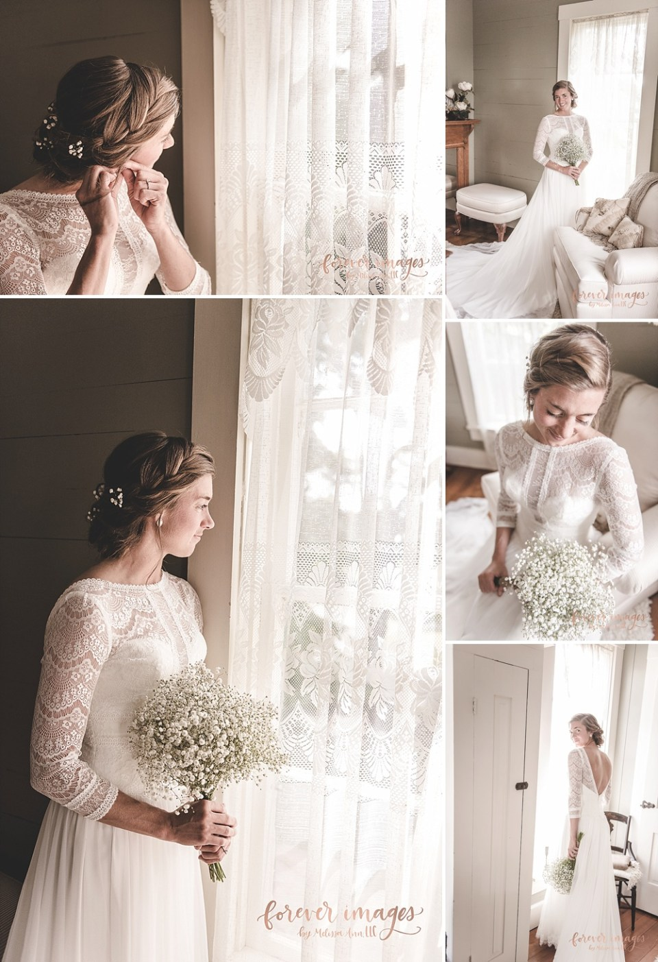 bride looking out window in country farmhouse