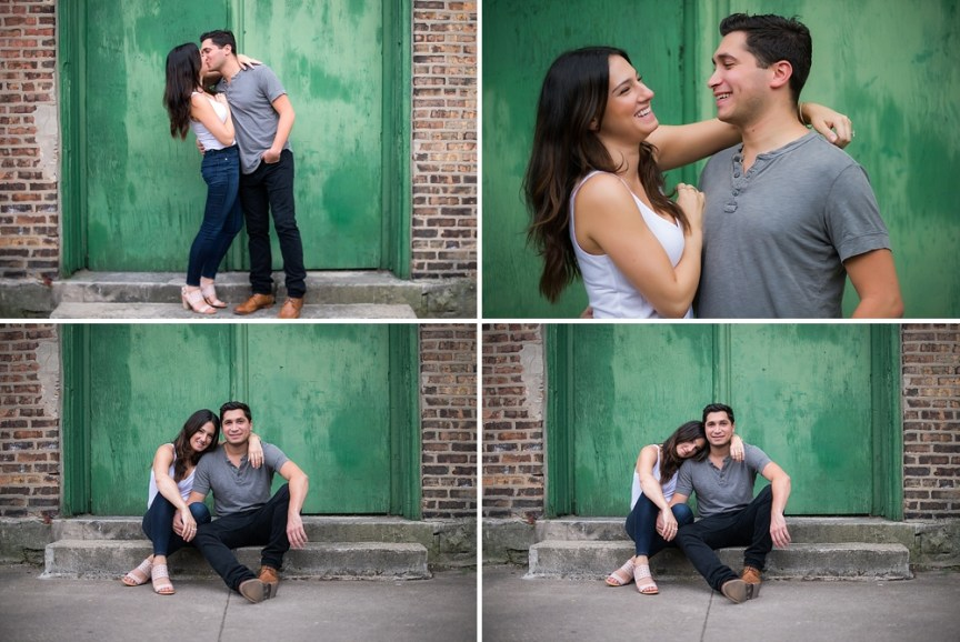 Chicago engagement photos with green doorway