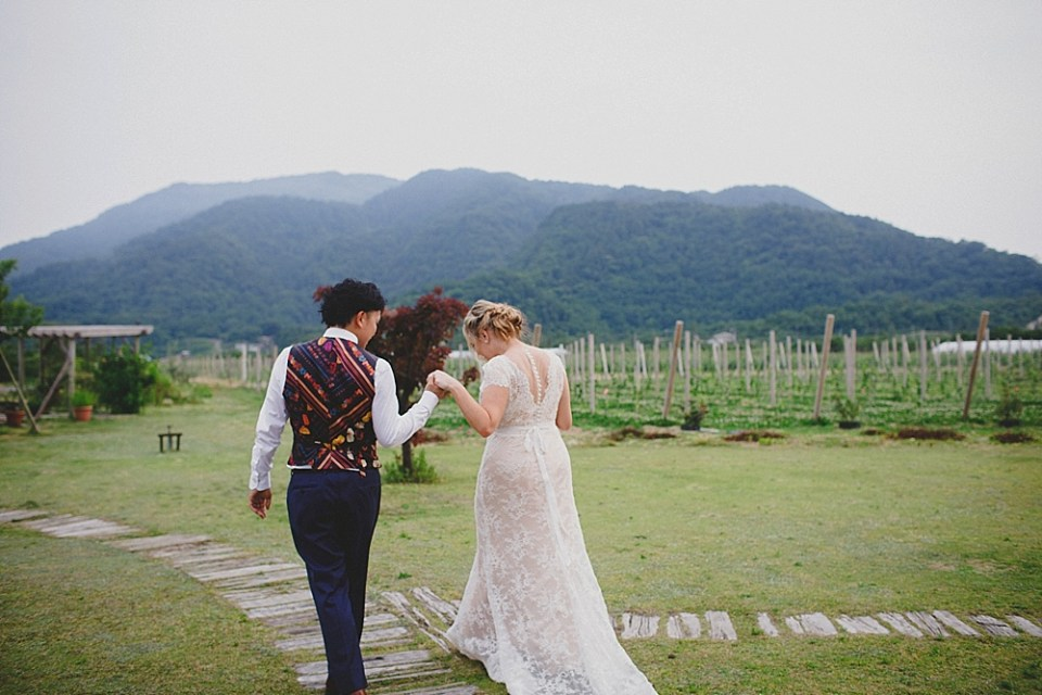 Japanese wedding photo with mountains