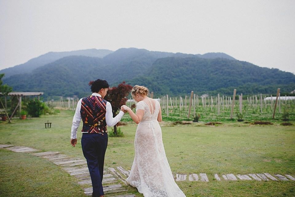 Japanese wedding photo with mountains