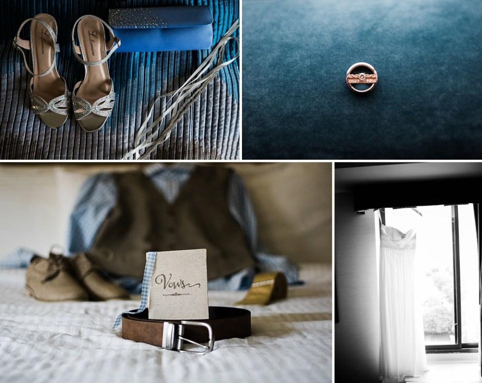 blue wedding details in hotel room