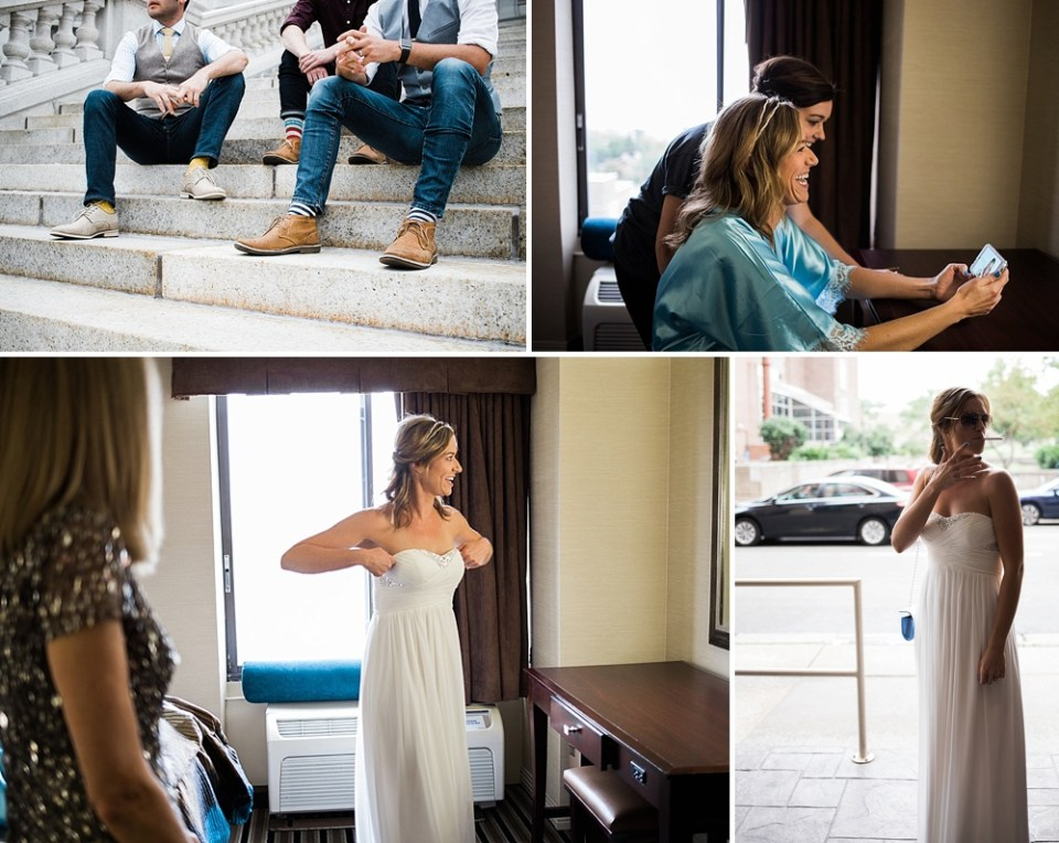 bride getting dressed in Madison hotel room