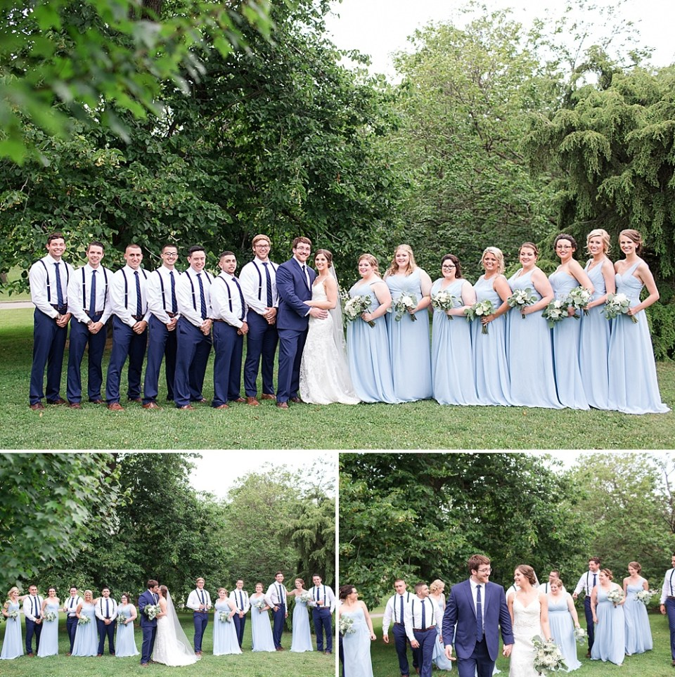 large wedding party in the park