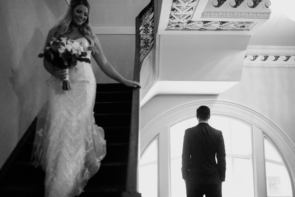 bride and groom's first look at historic Seelbach Hotel