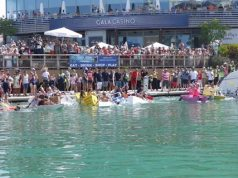 And they're off! Gibraltar Cardboard Boat Race