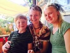 Kale, Sparrow, and Charlotte at Arasta market