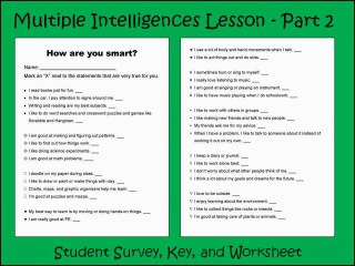 Multiple Intelligences Lesson, Survey questionairre, Multiple Intelligence Key and Worksheet for elementary students