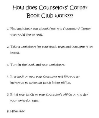 Reproducible explaining how our counselors corner book club works.