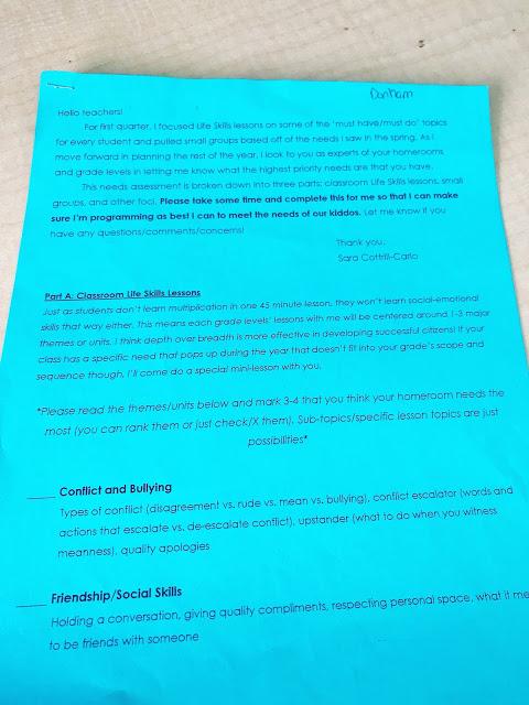 Needs Assessment Send home sheet