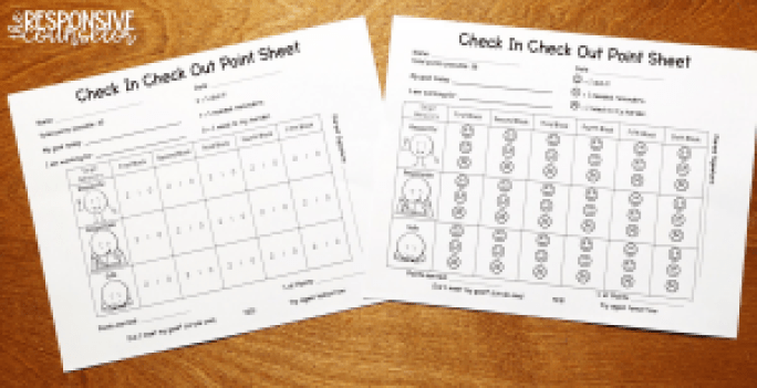 Check In Check Out Point Sheets