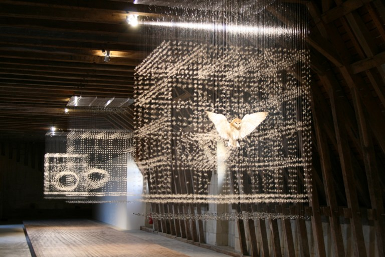 Claire Morgan, 'Here is the End of Things', 2011, thistle seeds, bluebottles, a taxidermy barn owl, nylon, lead, acrylic. Four parts, each measuring 240 x 150 x 150 cm.