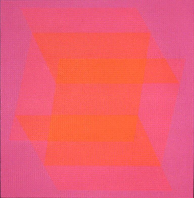 "Julian Stanczak, 'Translucent Orange', 1968, acrylic on canvas, 36"" X 36""."