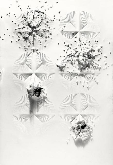 """Four in Six Gunshot"" : Cotton Rag Paper with 12 gauge Shotgun Blast - size : 31.5"" x 45"""
