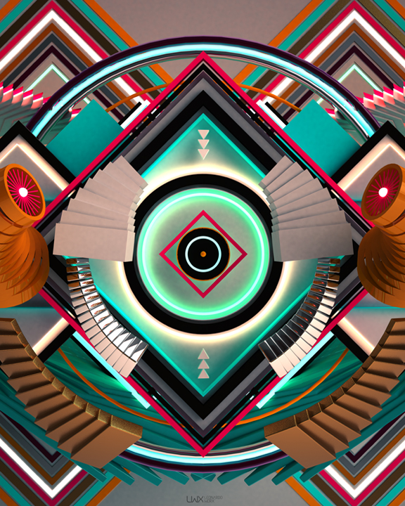 Leonardoworx, 2014, 3D Recursive Digital Image based on algorithms generated by Leonardoworx's own programming codes, 100 X 70 cm.