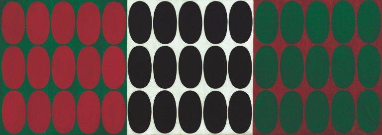 Turi Simeti, 'Italian Flag', 1964, oil and collage on canvas, 22 1/5 × 63 1/5 in (56,5 × 160,5 cm).