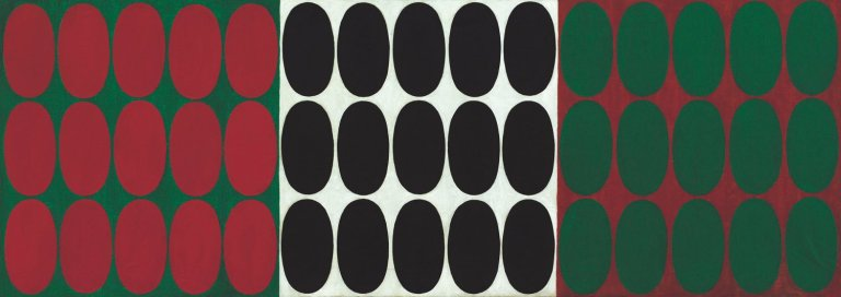 Turi Simeti, 'Italian Flag', 1964, oil and collage on canvas, 22 1/5 × 63 1/5 in (56,5 × 160,5 cm).