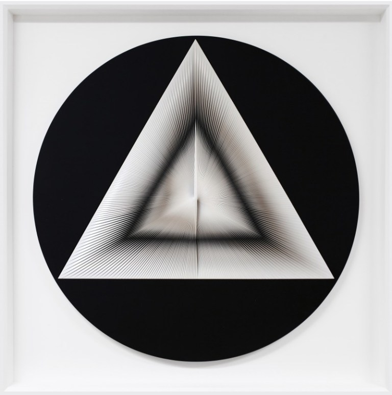 Alberto Biasi, 'Uno e Trino in nero', 2005, mixed media, painting, PVC and acrylic on panel, 38 1/4 in. (97 cm)  (diameter).